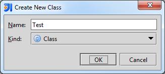 IntelliJ new class window